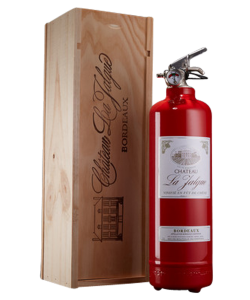 Fire extinguisher design Wine in wood box red