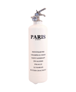 Fire extinguisher design City Paris white black