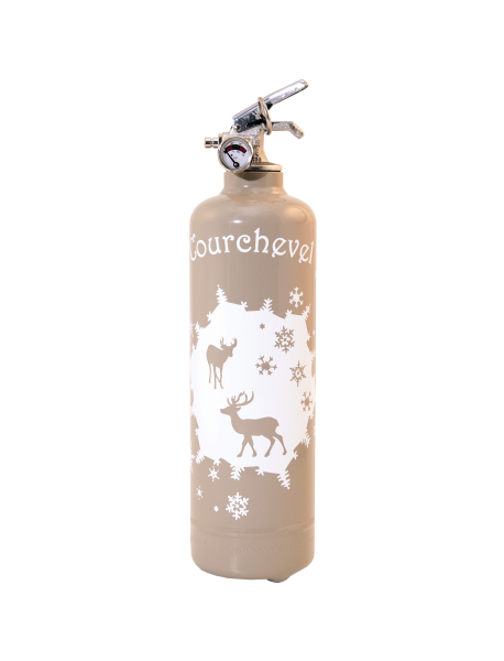Fire extinguisher design PC Cerfs et flocons beige