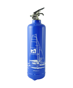 Fire extinguisher design Catamaran blue