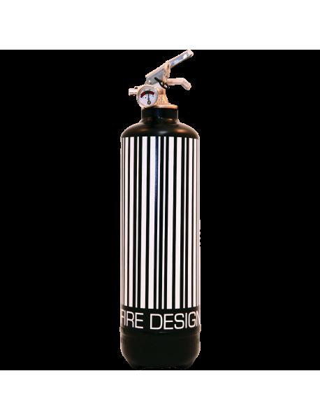 extincteur design code barre noir blanc