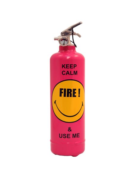 Fire extinguisher design Smiley keep calm pink