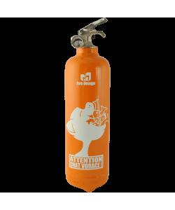 Fire extinguisher design Chat Vorace orange