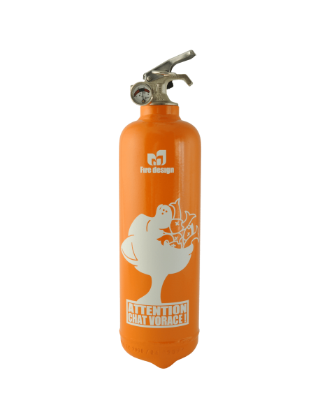 Fire extinguisher design Chat Vorace orange
