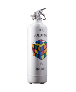 Fire extinguisher design Rubiks solution inside