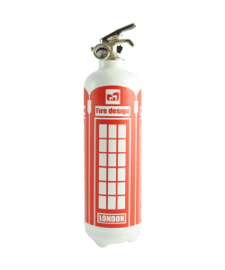 Fire extinguisher design London white red