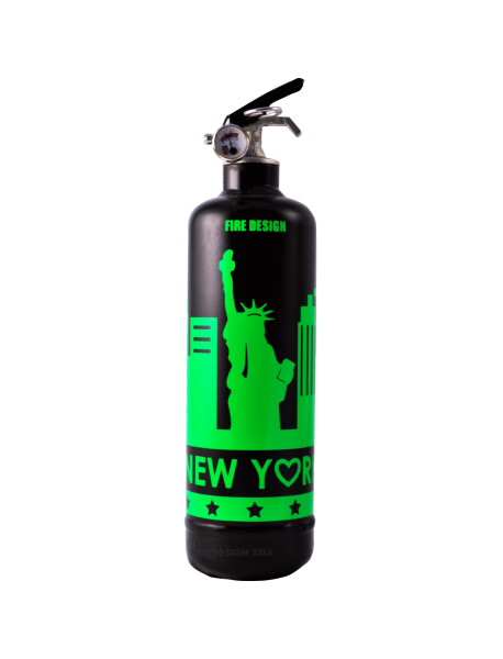 Extincteur design States noir vert fluo