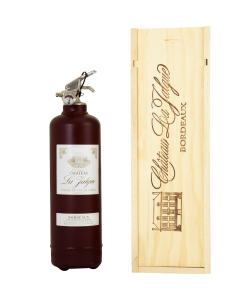 Fire extinguisher design wine with wooden box bordeaux