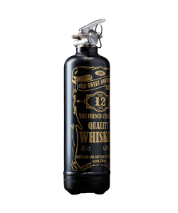 Fire extinguisher design Whiskey black gold