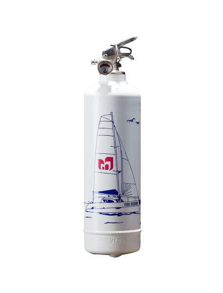 Boat fire extinguisher Catamaran white