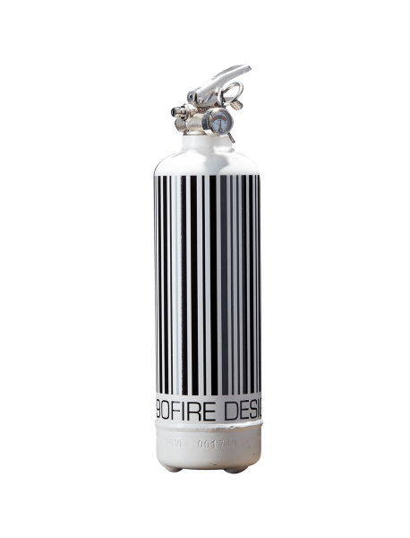 Fire extinguisher design Code Barre white black