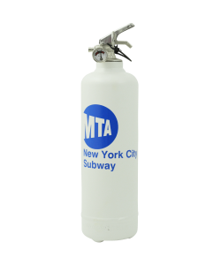 Designer fire extinguisher logo MTA white
