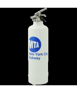 Extincteur déco logo MTA blanc bleu