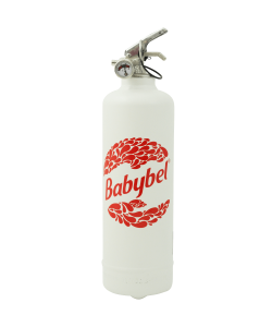 Designer fire extinguisher kitchen Babybel Logo2 white red